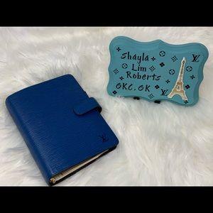 Louis Vuitton blue epi agenda mm